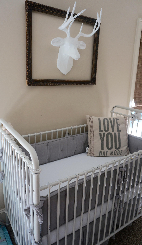 dreamy grey nursery bedding from RH